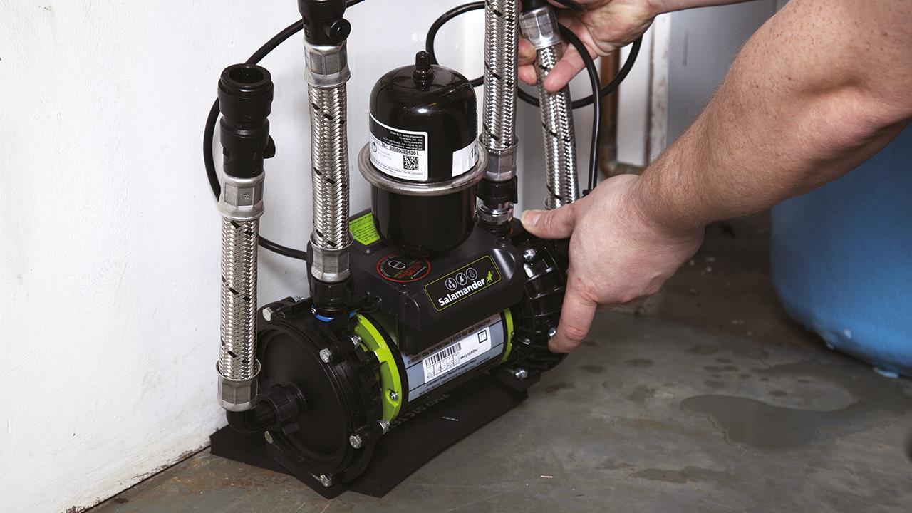 Shower pump installation in loft